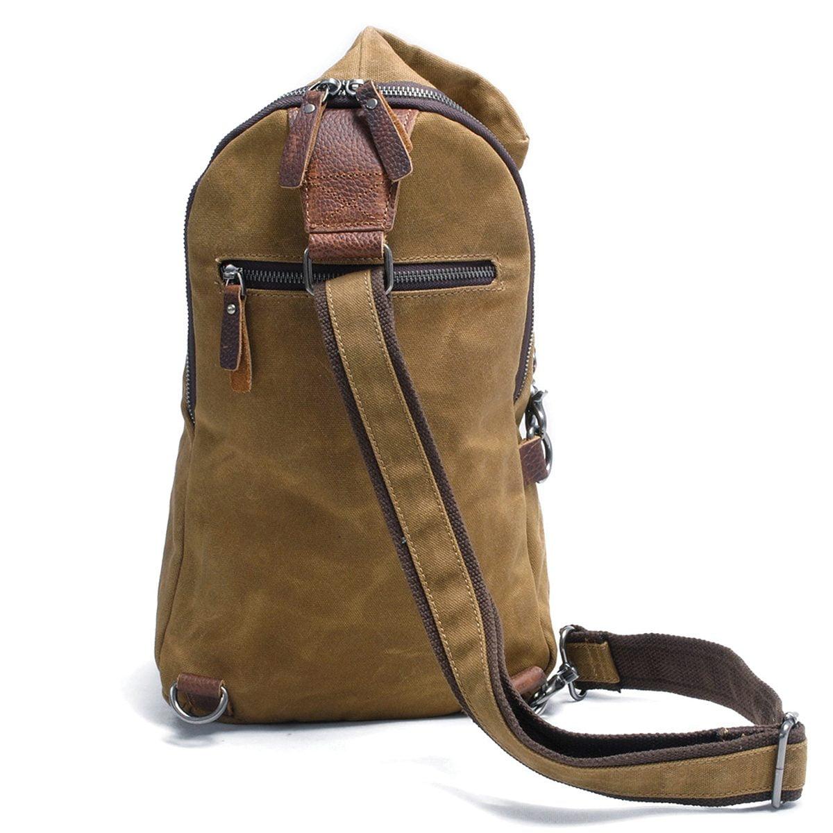 Túi đeo chéo Vintage vải canvas sáp dầu, da bò sáp – MOGOLY