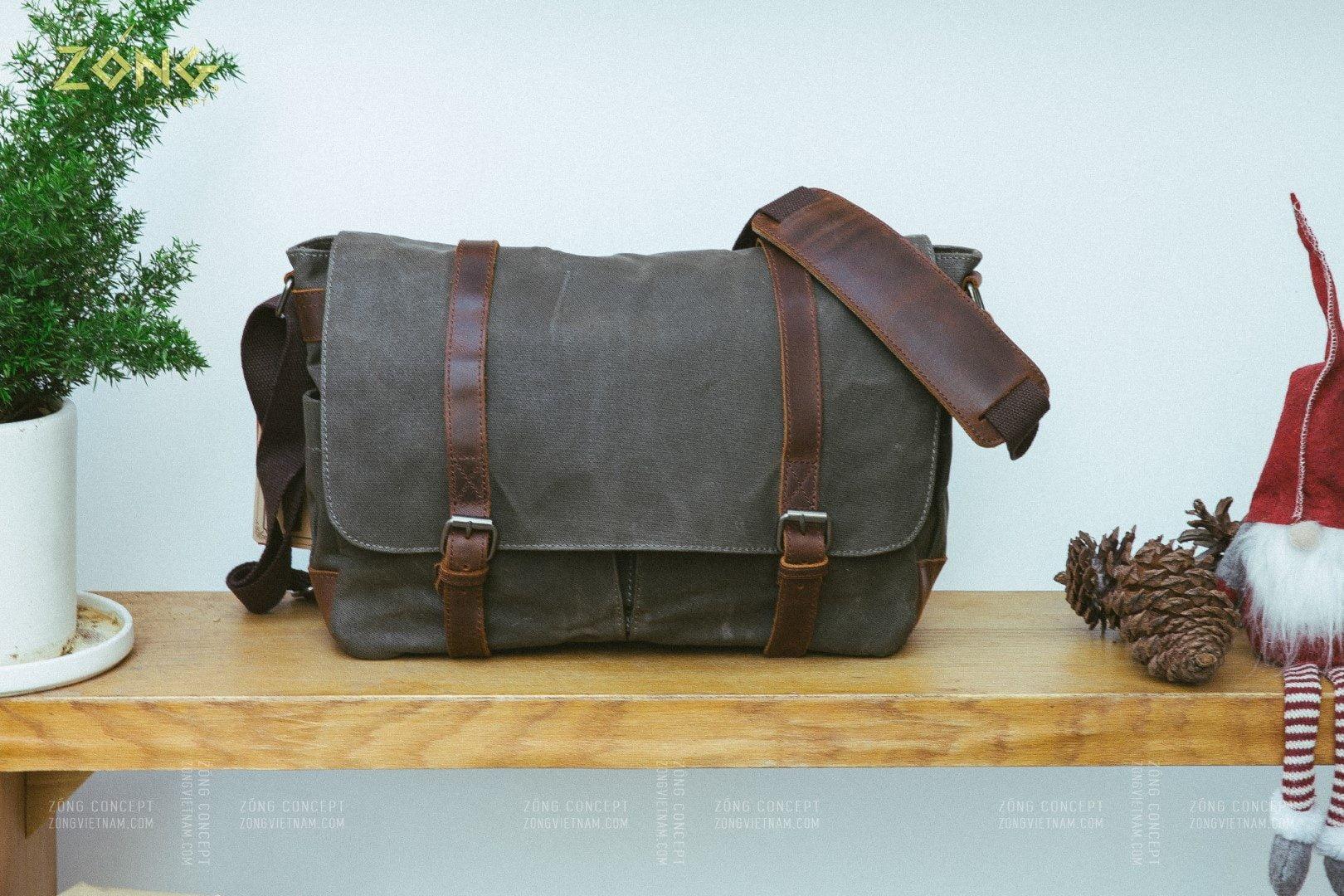 Túi xách laptop vintage vải canvas sáp dầu, da bò sáp - SQUARE II